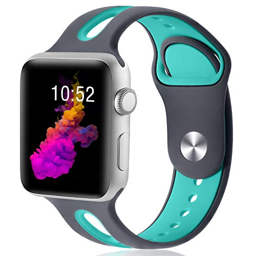 KOLEK Silicone Band Compatible with iWach Series 3/4/2/1 40mm/38mm, Womens Band Compatible with Apple Watch 4/3/2/1, S/M, Grey/Green