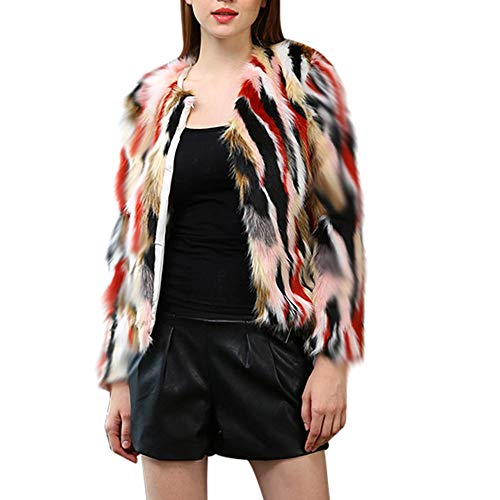 DBHAWK Women Winter Warm Thick Coat Faux Fur Parka Outwear Cardigan Mixed Coloring Jacket Trench