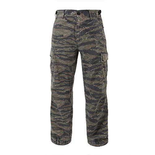 Vintage Vietnam Era Tiger - BlackC Sport Fatigue Cargo Pants Camouflage 6 Pocket New Vintage Vietnam Era Rip-Stop