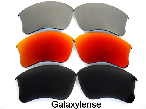 Galaxy Replacement Lenses for Oakley Flak Jacket XLJ Black&Red&Gray Color Polarized 3 - Oakley Red And Black Jacket Flak