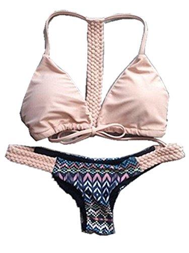 Menglihua Women Elegant Spaghetti Strap Push up Padded Bikini Bathing Suit Bikini Set PinkNavy Small (Tropical Makeup Vanity)