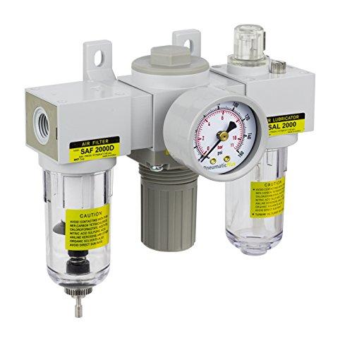 Mini Filter Regulator - PneumaticPlus SAU2000M-N02G Mini Three-Unit Combo Compressed Air Filter Regulator Lubricator FRL, Air Preparation Unit 1/4