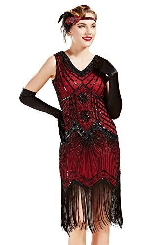 7fd742451 BABEYOND Women's Flapper Dresses 1920s V Neck Beaded Fringed Great Gatsby  Dress (S, ...