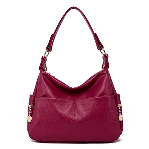 The Seventh Soft Leather Shoulder Bags Hobo Style Bag, Retro Casual Large Capacity PU Leather Tote Bag Wine Red