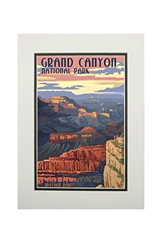 - Grand Canyon National Park, Arizona - Mather Point (11x14 Double-Matted Art Print, Wall Decor Ready to Frame)