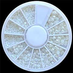 White Pearl Nail Art Stone ,Different Size Rhinestones Beads in one Wheel , Diamonds Dazzling Tips Nail Sticker Sequins Colorful Nail Art Decoration 100% New. Various size of pearl in one wheel. 2.25 x 2.25 inches wheel. Color: As the picture...