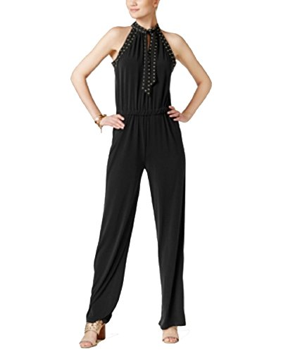 Michael Kors Studded Straight-Leg Jumpsuit (Black, (Studded Jumpsuit)