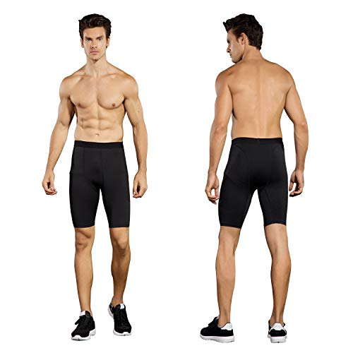 Niksa 3 Pack Compression Shorts Men Quick Dry Black Performance Athletic Shorts-XL