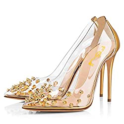 Gold Rivets Pointed Toe Transparen Heels with Bowknot