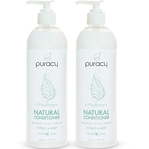 Puracy Natural Hair Conditioner Set, Sulfate-Free Non-Toxic Plant Polymers for Deep Conditioning, Citrus and Mint, 16 Ounce Pump Bottle, (Pack of 2) - Black Walnut Drops