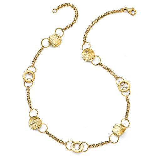 14k Yellow Gold Polished Textured Fancy Link Dbl Strand 17-in Necklace
