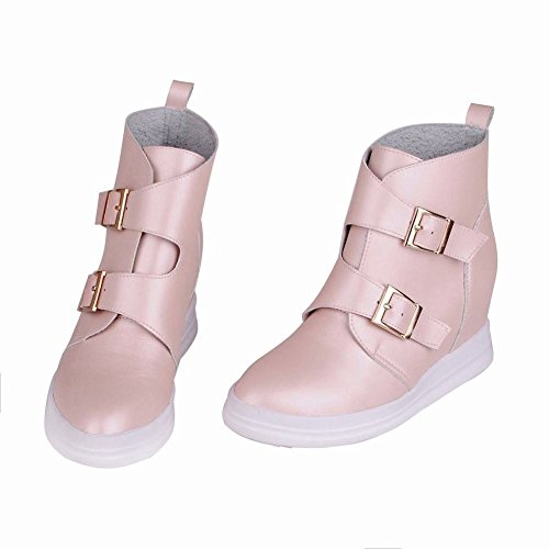 Carolbar Womens Pull On Multi Buckle Decorations Fashion Pointed Toe Wedge Heel Dress Boots Pink aPBouDh