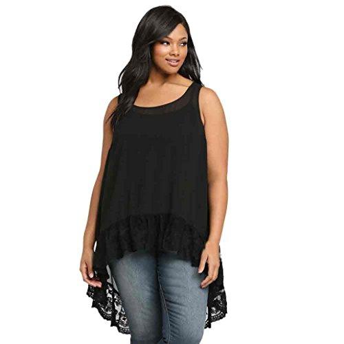 Price comparison product image Women's Chiffon Blouse, Laimeng Plus Size Vest Sexy Loose Tank Top (3XL,  Black)