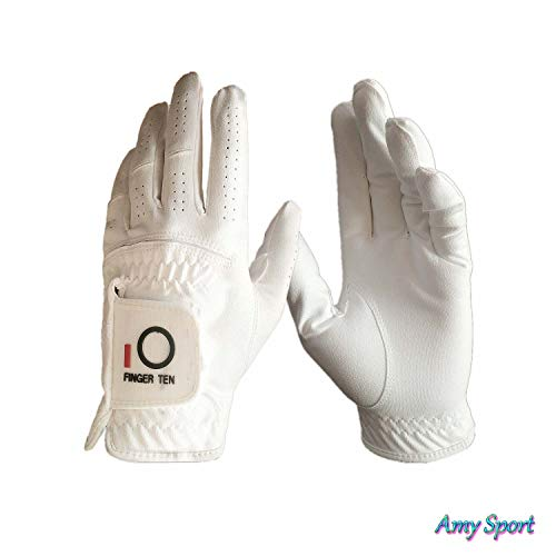 Amy Sport Golf Gloves Mens Left Hand Pack Rain Grip for Right-Handed Golfer, Black White All Weather Durable Comfort Glove Size Small Medium Large ML XL (White, X-Large) ()