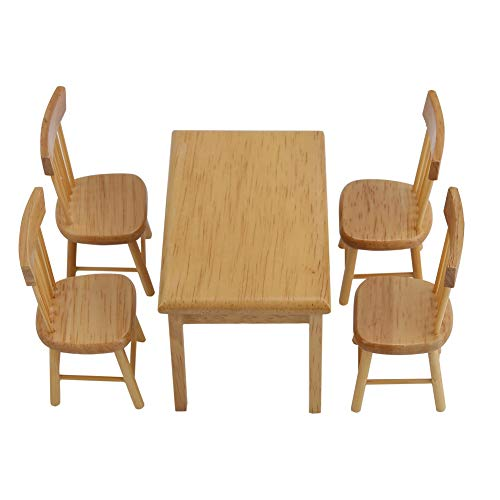 Zerodis Dolls House Desk Chair, 5Pcs 1/12 Dining Table Chair Set Fun House-Hold Sofa Furniture Models Early Education Play Game Toys Gifts Dollhouse Decor Accessories for Baby Kids(Wood Color) ()