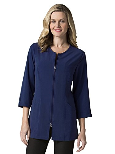 "Maevn Uniforms Smart Lab Coats - Ladies 3/4"" Sleeve Lab Jacket (X-Large, Navy)"