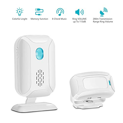 GREENCYCLE Wireless Door Open Welcome Entry Chime Security Driveway Alarm Receiver & PIR Detector (Operating Range 918ft, 36 Songs, 4 Volume Levels, 5 Modes) - 1 Receiver 1 Motion Sensor