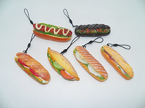 6 pc Kawaii Tomato Lettuce Ham Hot Dog Baguette Bread Phone Charm Set