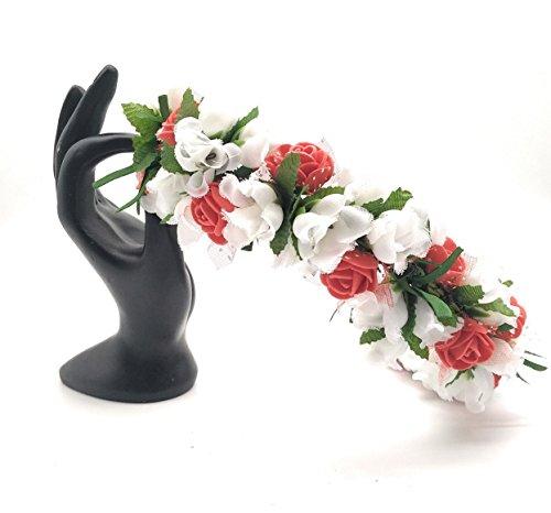 Satyam Kraft Adjustable Wooden Stick Floral Tiara Of White Flower