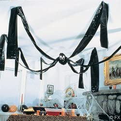 Fun Express Hanging Halloween Plastic Spider, 20 Foot, Black