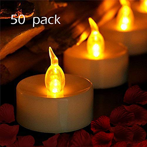 (Tea Lights, LED Tea Light Candles 100 Hours Pack of 50 Realistic Flickering Bulb Battery Operated Tea Lights for Seasonal & Festival Celebration Electric Fake Candle in Warm)