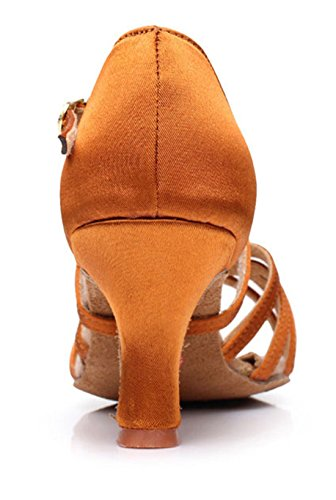 Strap Comfort Heel Classic TDA Salsa Shoes Satin 7cm Tango Ankle Latin Brown Flared Women's Samba EI11wqY