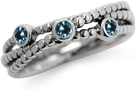 Silvershake Genuine London Blue Topaz 925 Sterling Silver Stack Stackable Ring