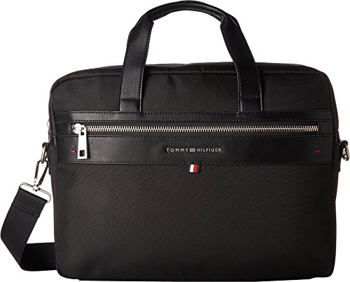Tommy Hilfiger  Men's Leo Cordura Nylon Briefcase Black One - Tommy Hilfiger Height