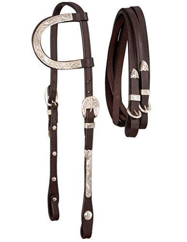 Ear Bridle (Royal King Silver Single Ear Heastall w/Reins Dark)