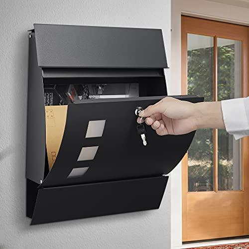 WOOHSE Briefkasten Anthrazit mit Zeitungsfach, Modern, Wandbriefkasten, Namensschild-Halter, Sichtfenster, Einfache Montage, 2 x Schlüssel Abschließbar, Anthrazit