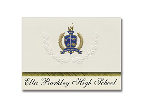 Signature Announcements Ella Barkley High School (Hamilton City, CA) Graduation Announcements, Presidential style, Elite package of 25 with Gold & Blue Metallic Foil seal]()