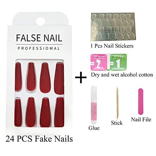 Hzacye 24 Pcs Glossy False Nails With Glue, Extra Long