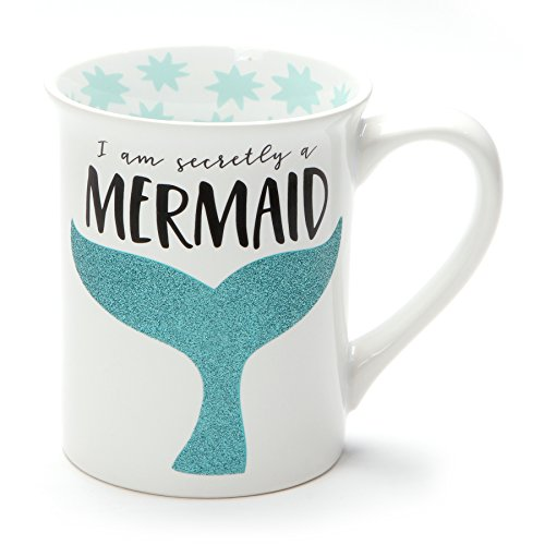 Secretly a Mermaid Blue Tail 16 Ounce Glitter Ceramic Coffee Mug