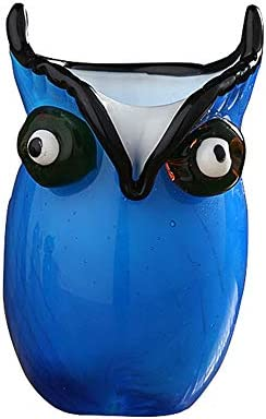 GR5AS Glas Eule Federhalter, kreative Tierblumeneinsätze, Ornamente Wohnaccessoires, 8 * 11,5 cm (Color : Blue)