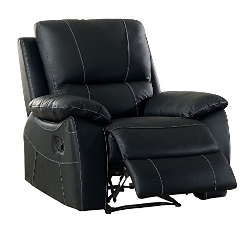 Homelegance Greeley Reclining Chair Top Grain Leather Match, Black