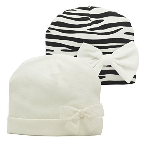 Nihao Baby Cap Newborn Infant Toddler Girl Beanie Bow Hats for Babies (White&Black Stripe, 1-3 Years Old)