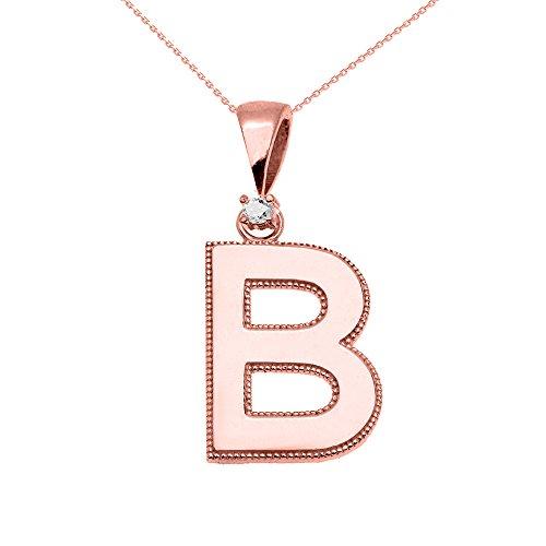 """Collier Femme Pendentif 10 Ct Or Rose Poli Élevé Milgrain Solitaire Diamant """"B"""" Initiale (Livré avec une 45cm Chaîne)"""