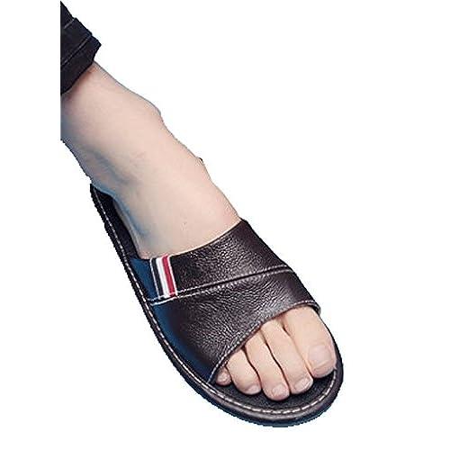 Cattior Men Open Toe House Slippers Leather Slippers Open Toe