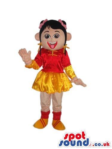 Oriental Girl Character SPOTSOUND US Mascot Costume Wearing Shinny Garments