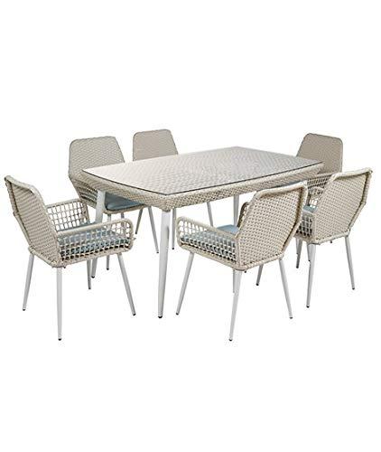Dabudae Set de Mesa y 6 sillas para terraza y jardín: Amazon.es: Jardín