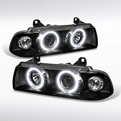 - Autozensation For BMW E36 3-Series 2Dr 4Dr Halo Projector Headlights Black