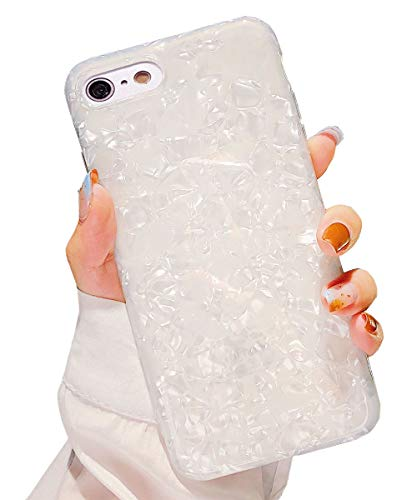 (Dailylux iPhone 8 Case,iPhone 7 Case,Glitter Pearly-Lustre Translucent Shell Pattern Sparkle Bling Crystal Clear Soft TPU Back Protective Phone Case Cover for iPhone 7/8 4.7