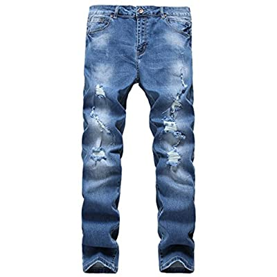 New Ric Foster Men's Ripped Skinny Fit Stretch Jeans With Distressed Broken Hole supplier