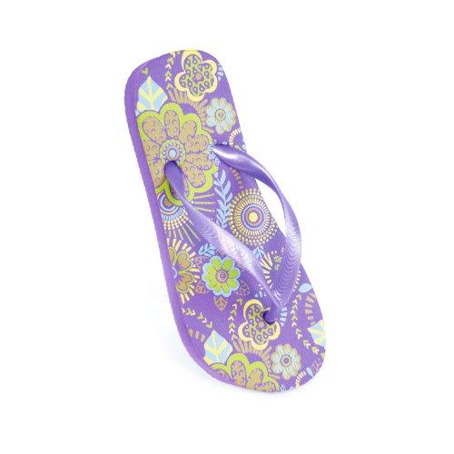 FLOSO® Childrens/Kids Girls Flower Flip Flops (4-5 US) (Lilac)