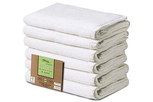 Eco Linen Soft Organic Bath Towels, Highly Absorbent Combed Cotton, Basic Bath Towel Collection, 24″ x 48″, Set of 6, White