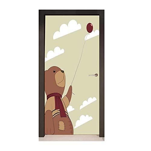 Homesonne Cartoon 3D Door Wallpaper A Melancholic Teddy Bear with Scarf Holding a Balloon Clouds in The Sky Clipart Modern Art Beige Cinnamon,W23.6xH78.7 ()