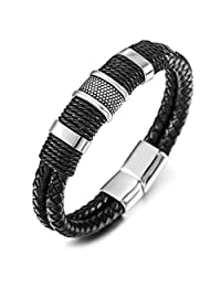 MOWOM 7.5~9.0 Inch Silver Tone Black Stainless Steel Genuine Leather Bangle Bracelet Cuff Wrap Braided Magnetic