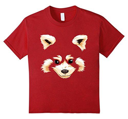 Panda Costume Face (Kids Red Panda Face T Shirt Halloween Costume Funny Pandas Head 8 Cranberry)