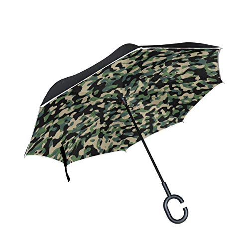 NICEOK Double Layer Inverted Green Army Comouflage Umbrella Cars Reverse Windproof Rain Umbrella for Car Outdoor with C Shaped Handle by NICEOK