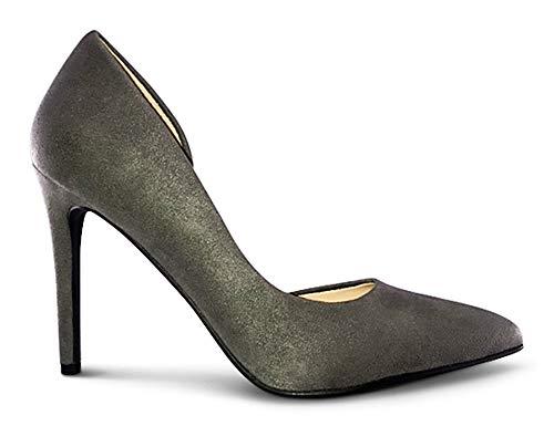 - AFFORDABLE FOOTWEAR Womens Pointy Toe Low Platform High Heels Stiletto Dress Pumps - (Grey Suede) - 8.5